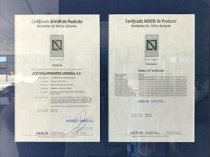 AENOR Certificación de unidades de vidrio aislante
